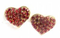 Red Rhinestone Heart Shaped Clip On Earrings